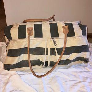VS PINK Canvas Striped Duffel Bag